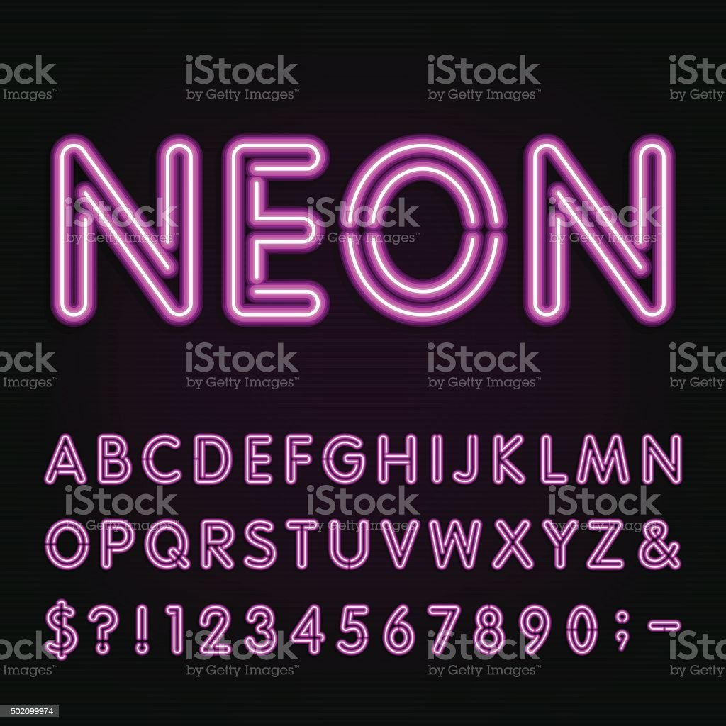 Neon Light Alphabet Font. vector art illustration