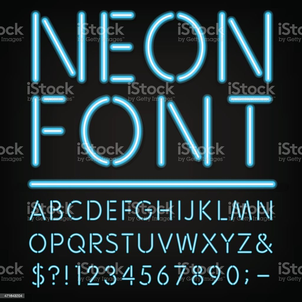 Neon Light Alphabet Vector Font vector art illustration