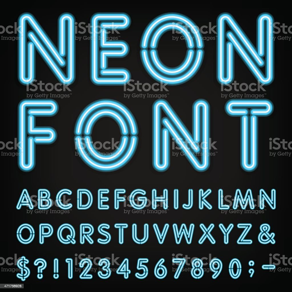 Neon Light Alphabet Vector Font. vector art illustration