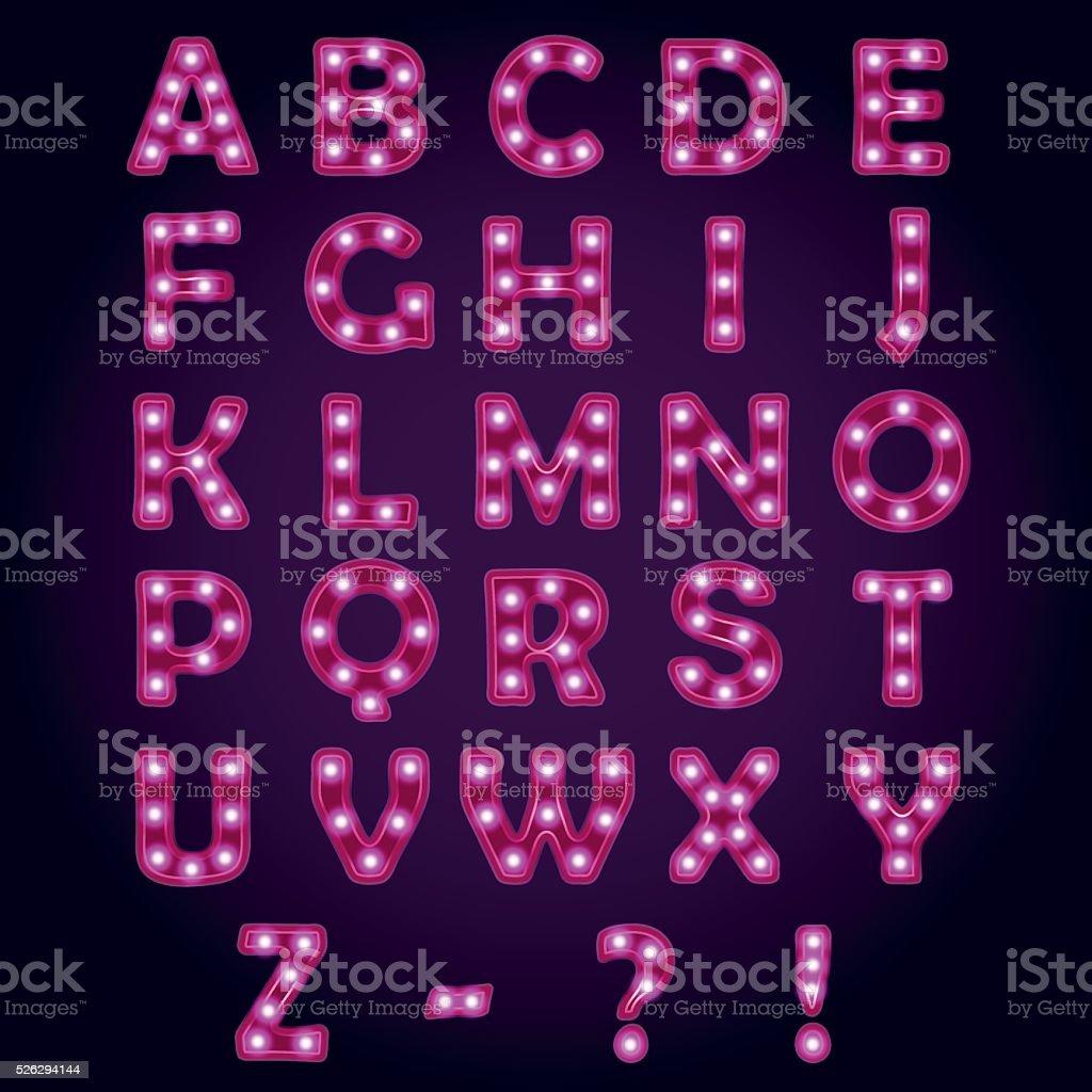 Neon light letters Alphabet ABC vector art illustration
