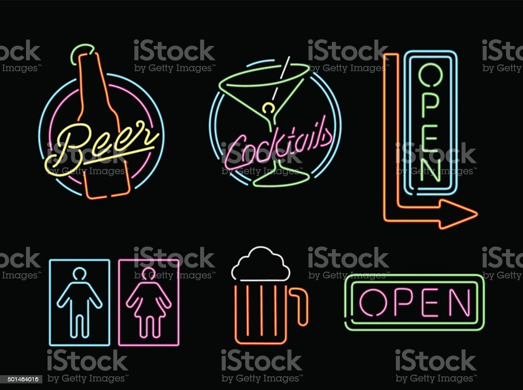 Neon light sign set icon retro bar beer open label vector art illustration