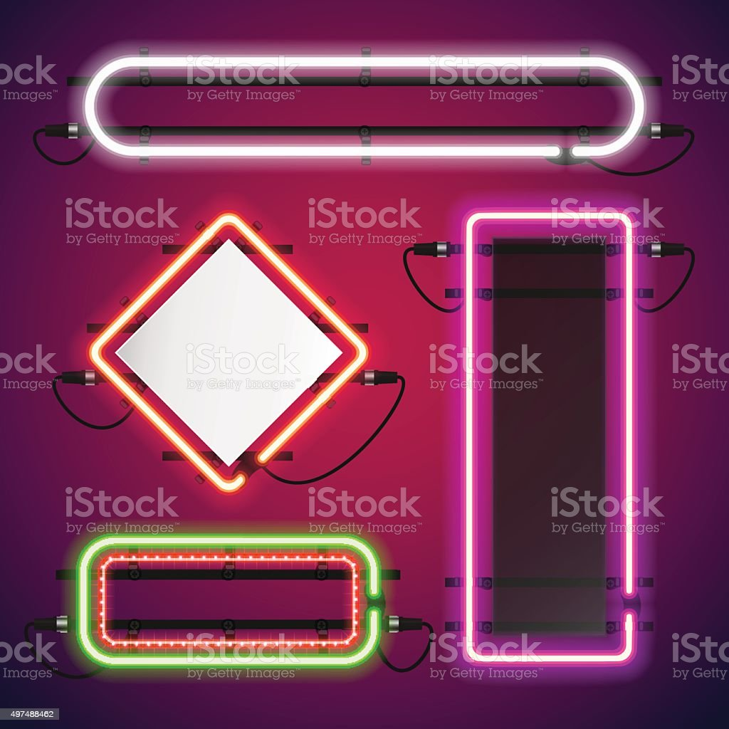 Neon Lights Rectangle Frames Set vector art illustration