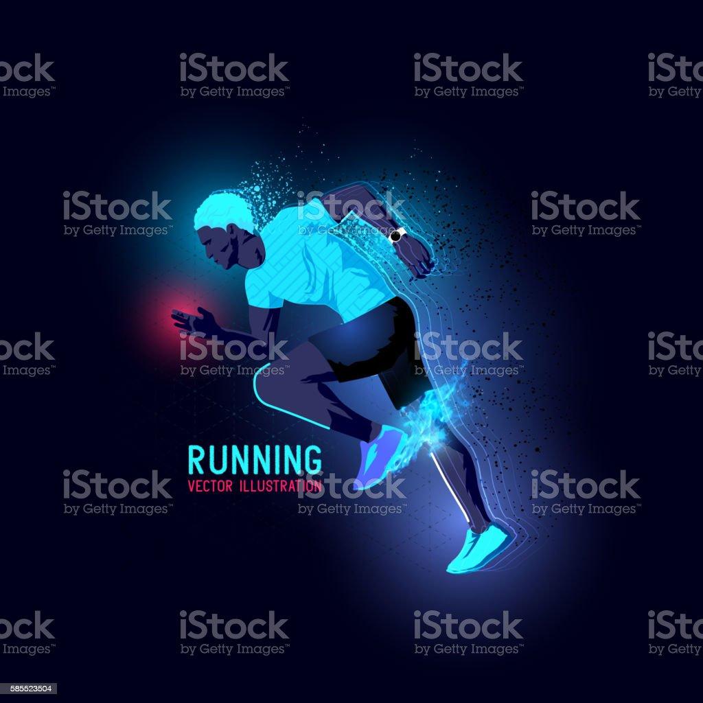 Neon Man Runner Vector vector art illustration