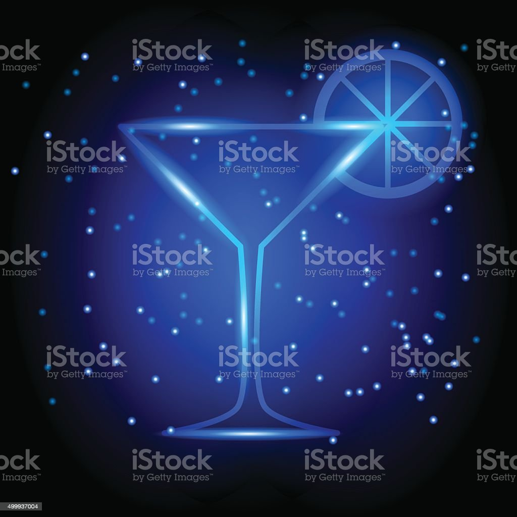 neon martini glass vector art illustration