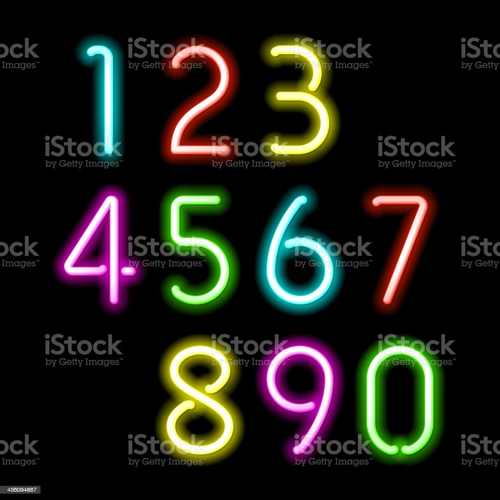 Neon numbers vector art illustration