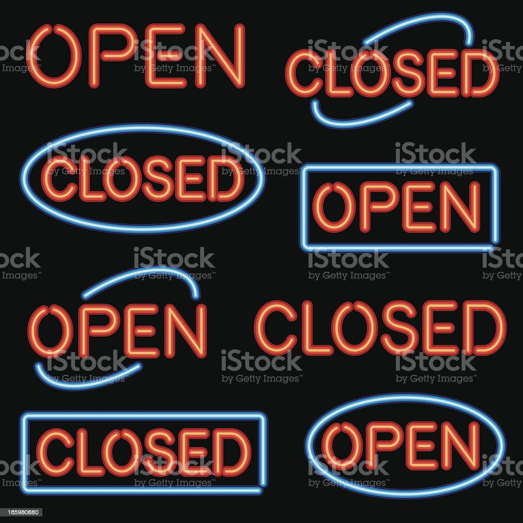 Neon 'Open' and 'Closed' Sign Set royalty-free stock vector art