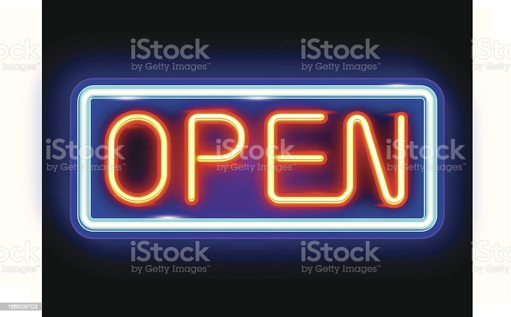 Neon Open Sign royalty-free stock vector art