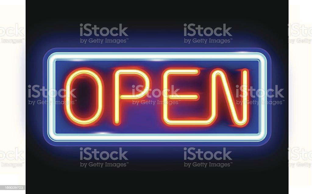 Neon Open Sign vector art illustration