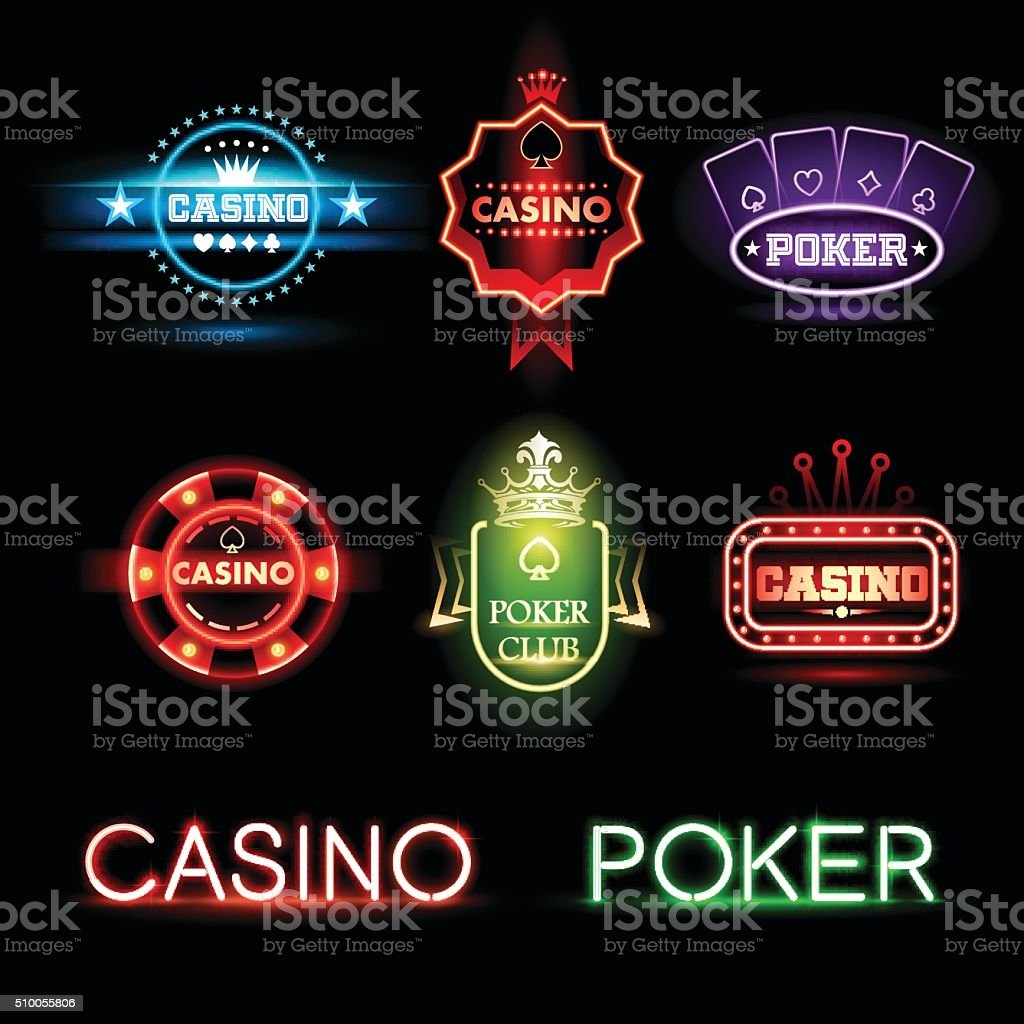 Neon poker and casino emblems vector art illustration