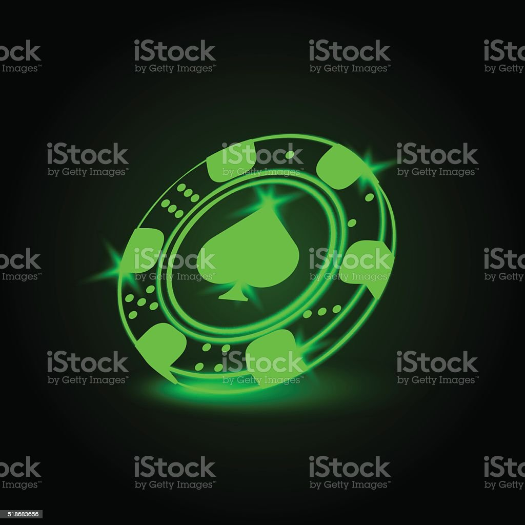 Neon poker chip with spades vector art illustration