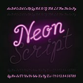 Neon script alphabet font. Light turn on and off.