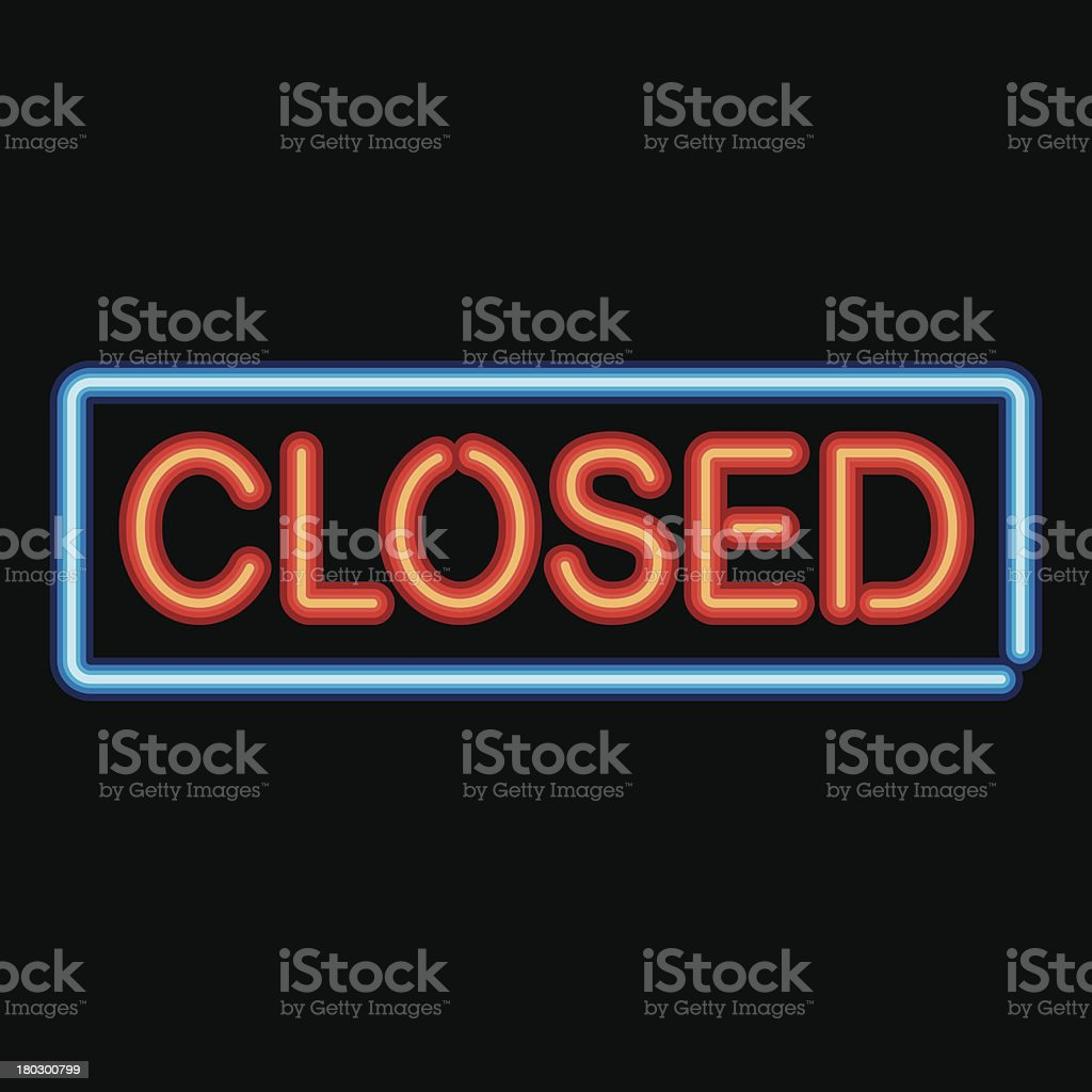 Neon Sign Closed Icon royalty-free stock vector art