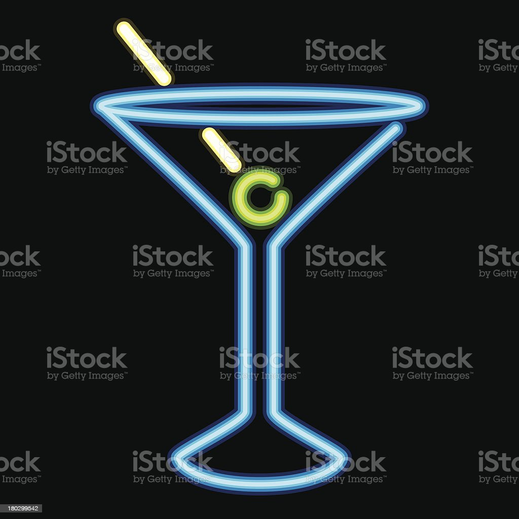 Neon Sign Cocktail Lounge Icon vector art illustration