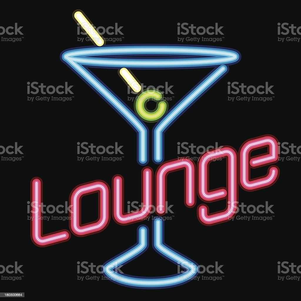 Neon sign Lounge icon royalty-free stock vector art