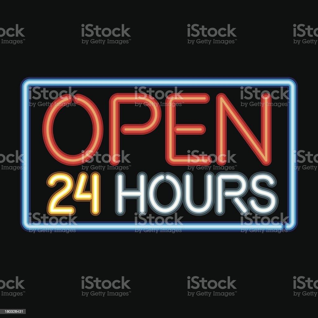 Neon Sign Open Late Icon vector art illustration