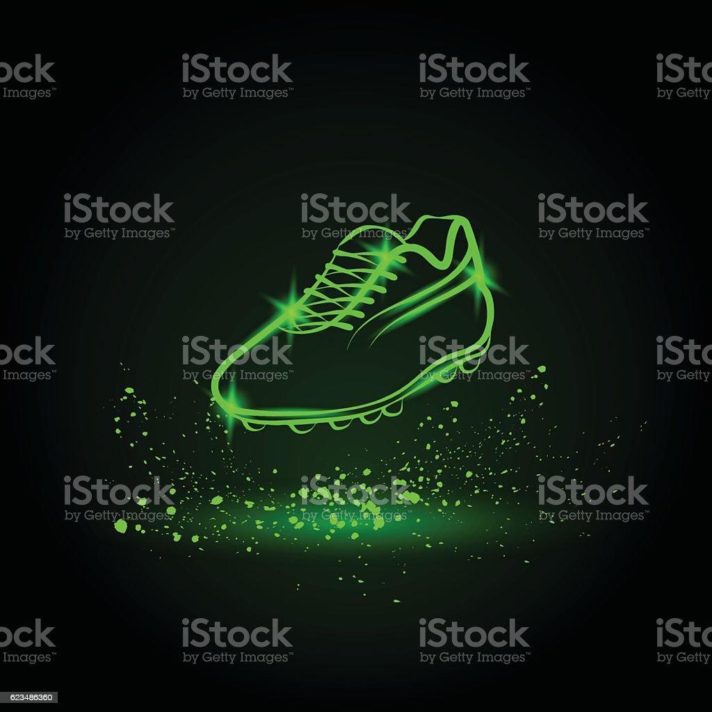 Neon soccer shoes illustration. Vector sports background. vector art illustration