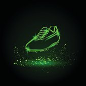 Neon soccer shoes illustration. Vector sports background.