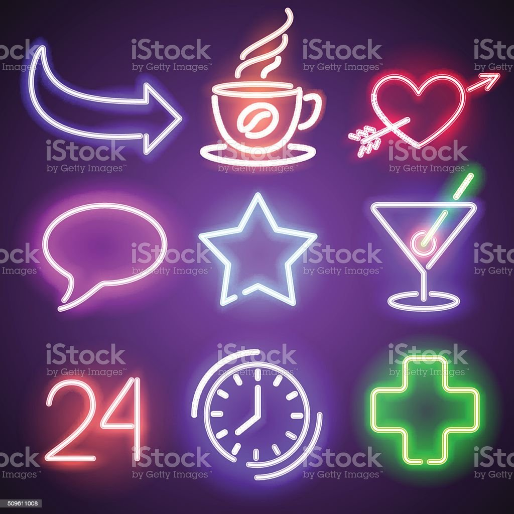 Neon symbols and elements vector art illustration