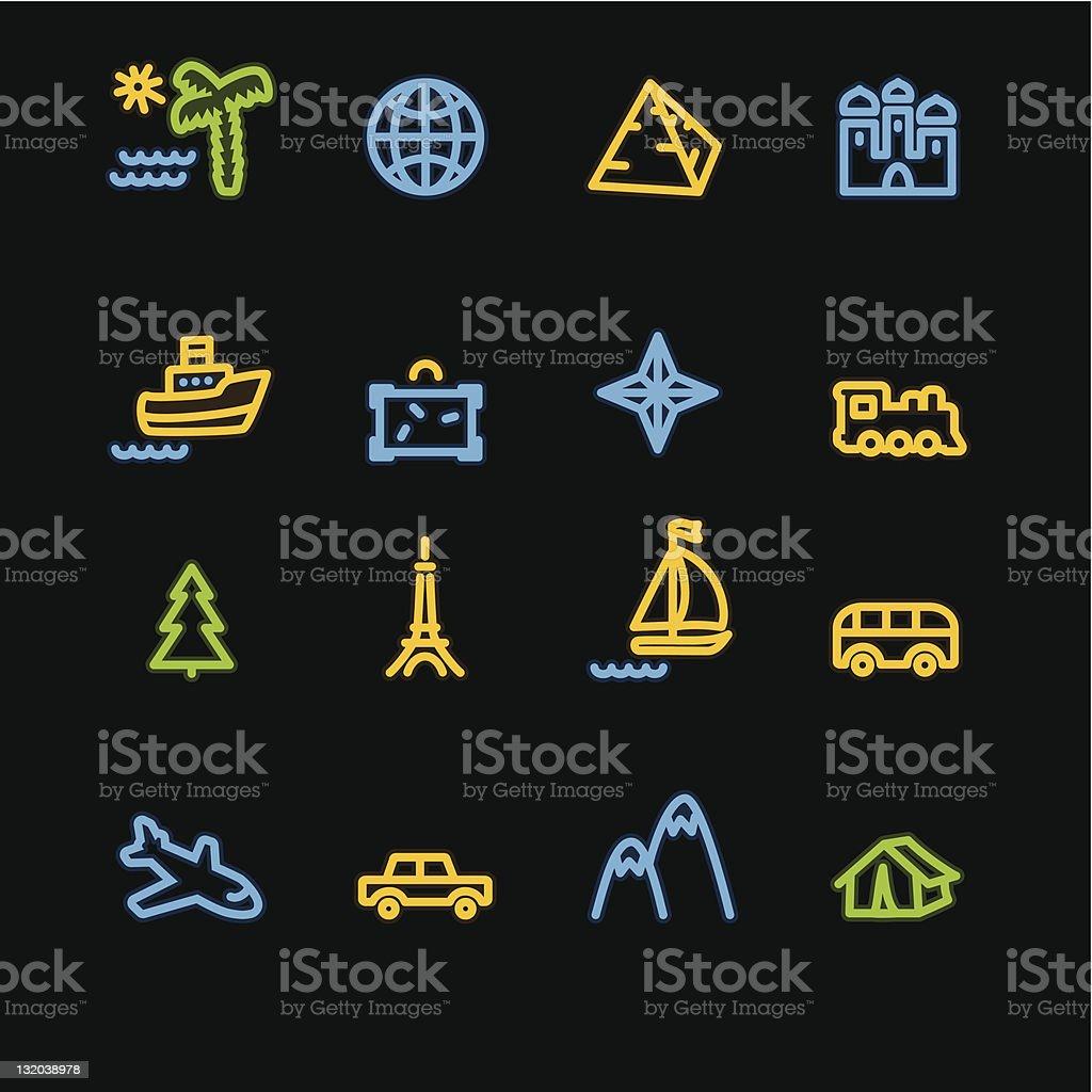 neon travel icons royalty-free stock vector art