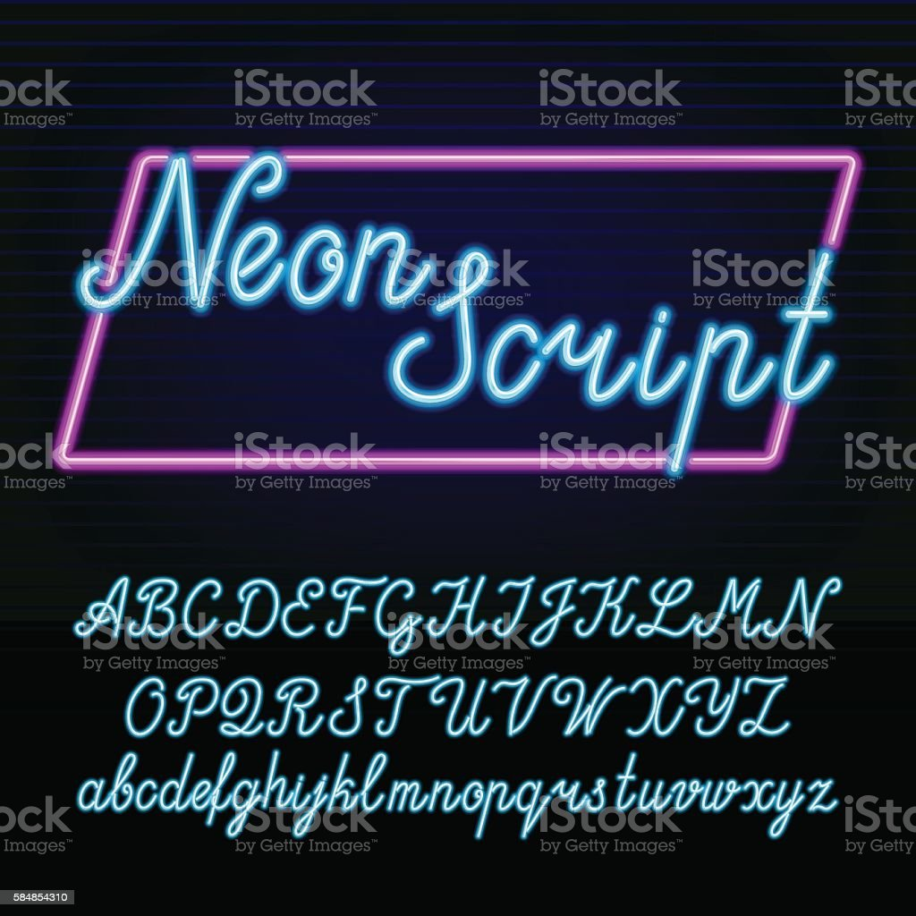 Neon tube alphabet font. vector art illustration