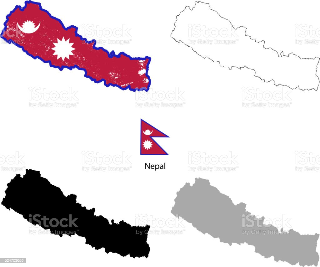 Nepal country black silhouette and with flag on background vector art illustration