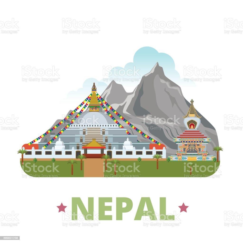 Nepal country design template. Flat cartoon style historic sight showplace web site vector illustration. World travel Asia Asian collection. Manaslu Mountain Boudhanath Kopan Monastery in Kathmandu. vector art illustration