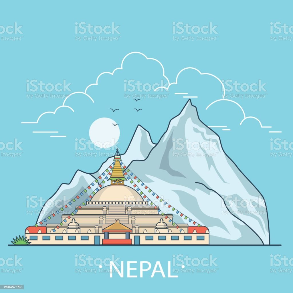 Nepal country design template. Linear Flat famous historic sight; cartoon style web site vector illustration. World travel and showplace in Asia, Asian vacation collection. vector art illustration