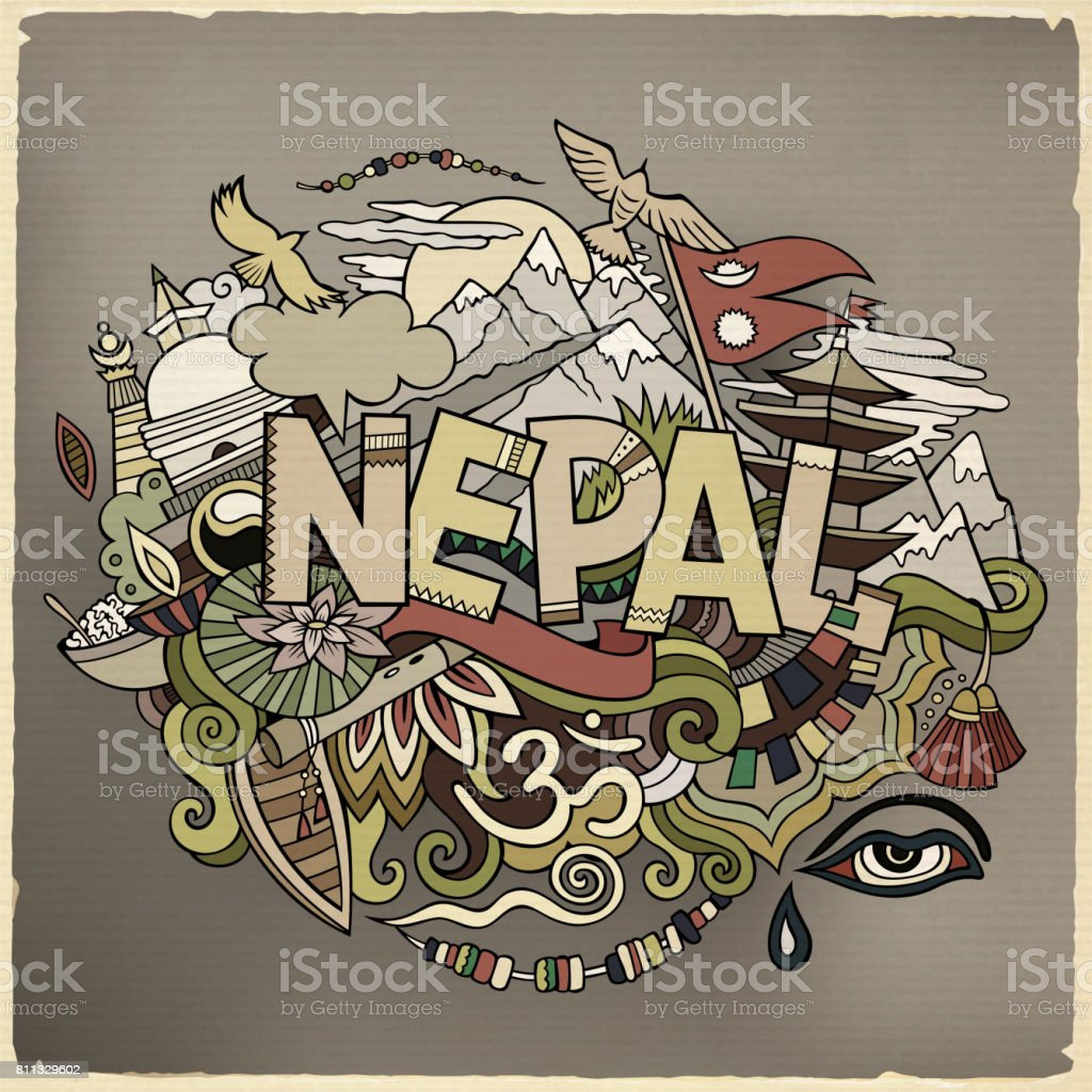 Nepal country hand lettering and doodles elements vector art illustration