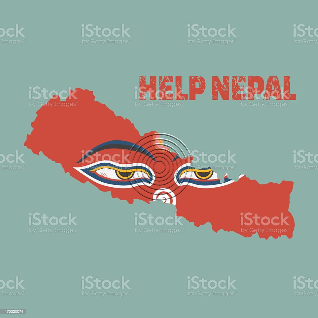 Nepal earthquake,Napal map with buddha eyes, Help nepal vector art illustration