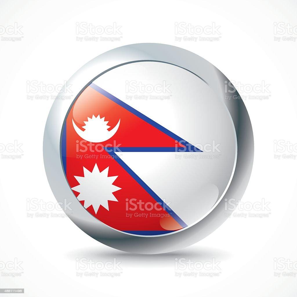 Nepal flag button vector art illustration