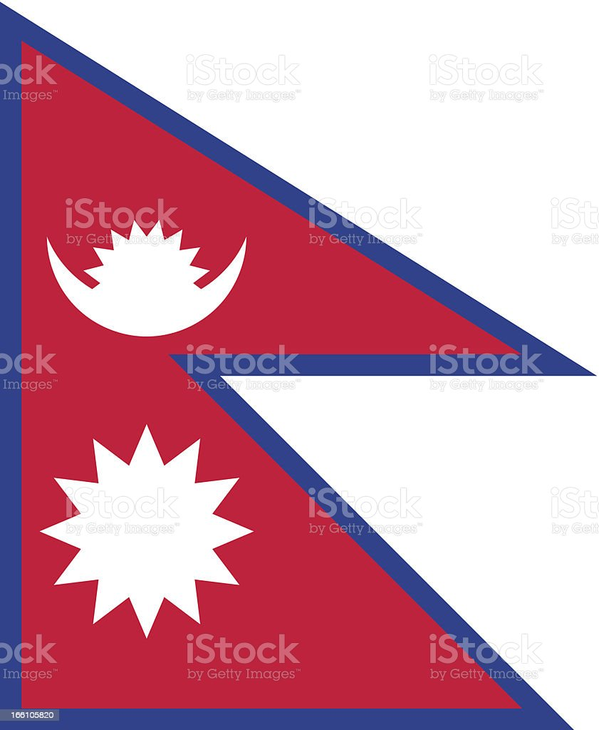 Nepal flag with red, blue, and white royalty-free stock vector art