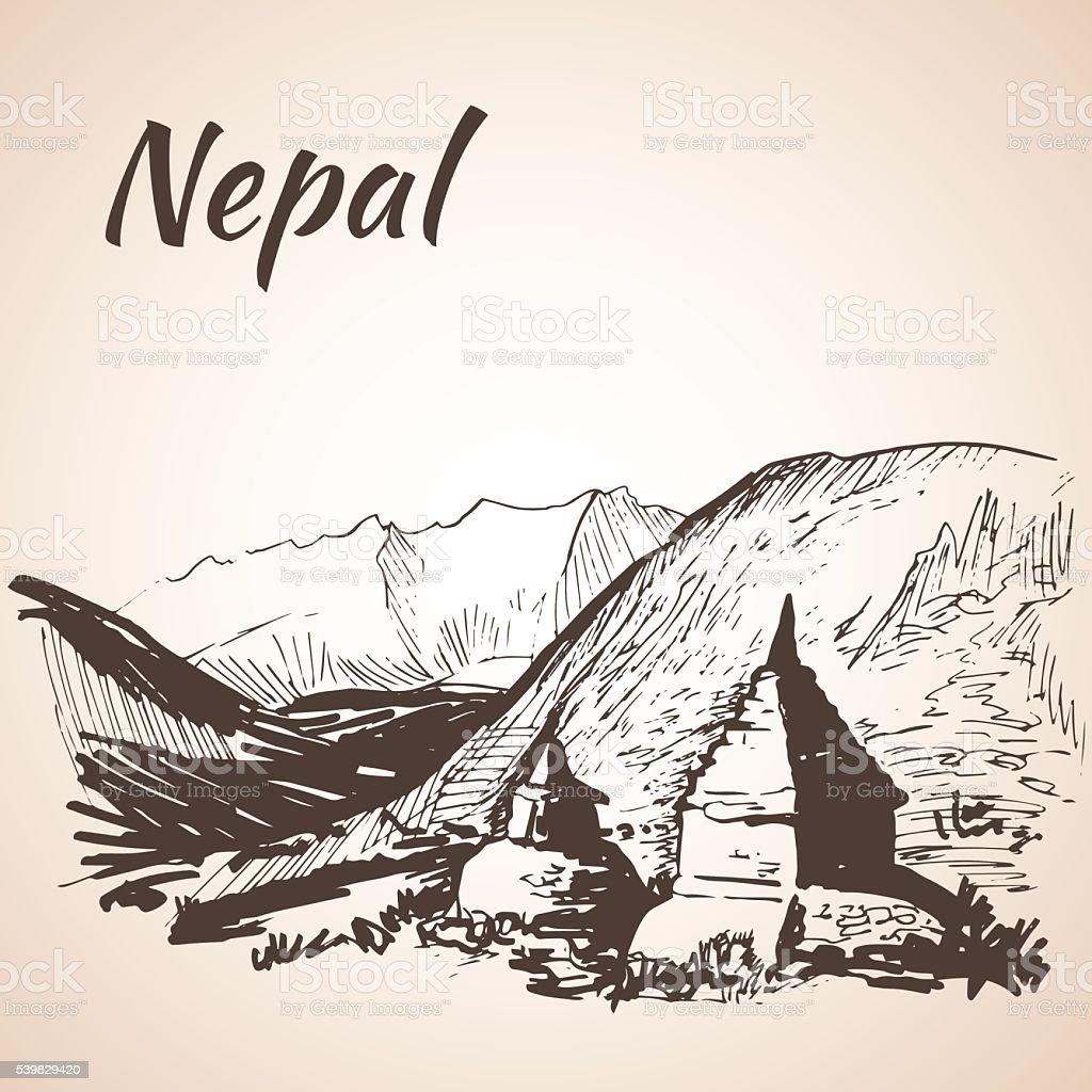 Nepal Himalayas. Isolated on white background vector art illustration