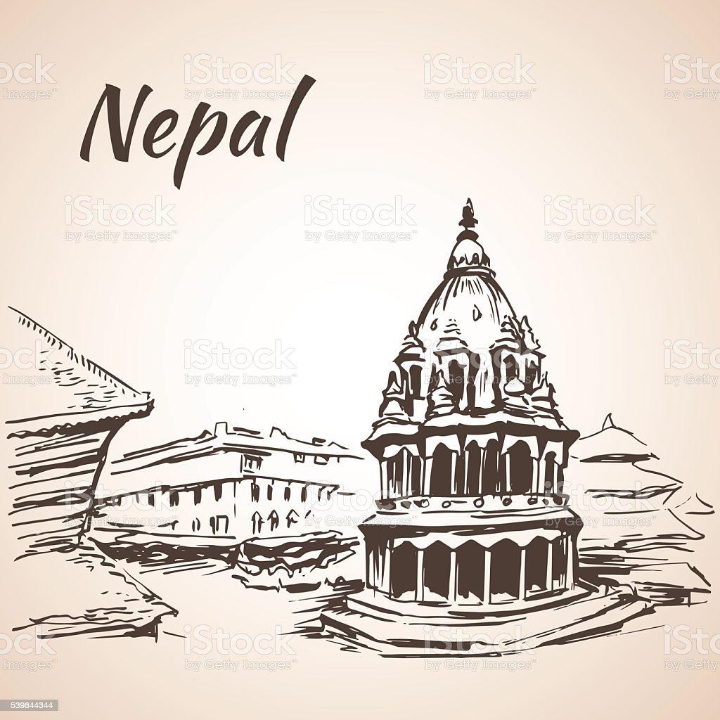 Nepal Kathmandu Valley, Bhaktapur Durbar Square. Kathmandu. Isolated on white background vector art illustration