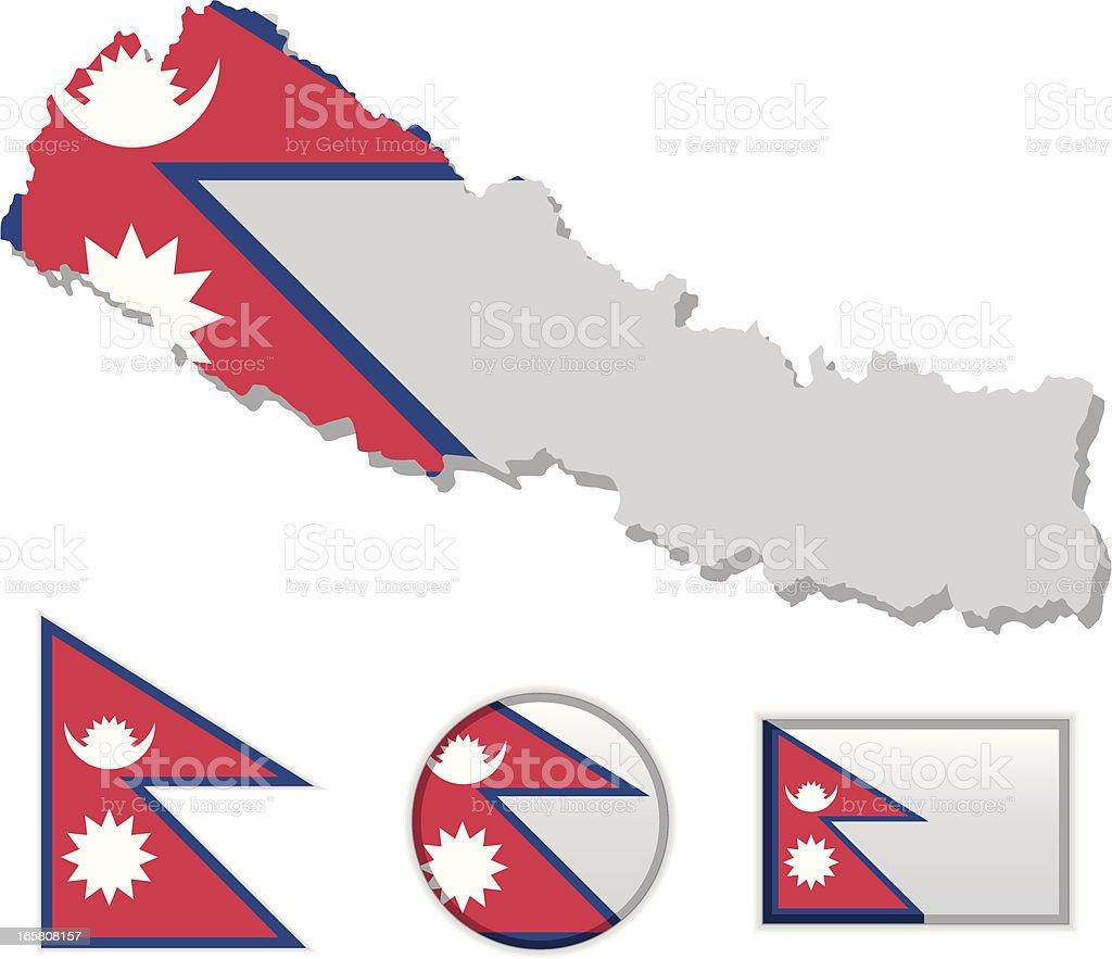 Nepal map & flag royalty-free stock vector art
