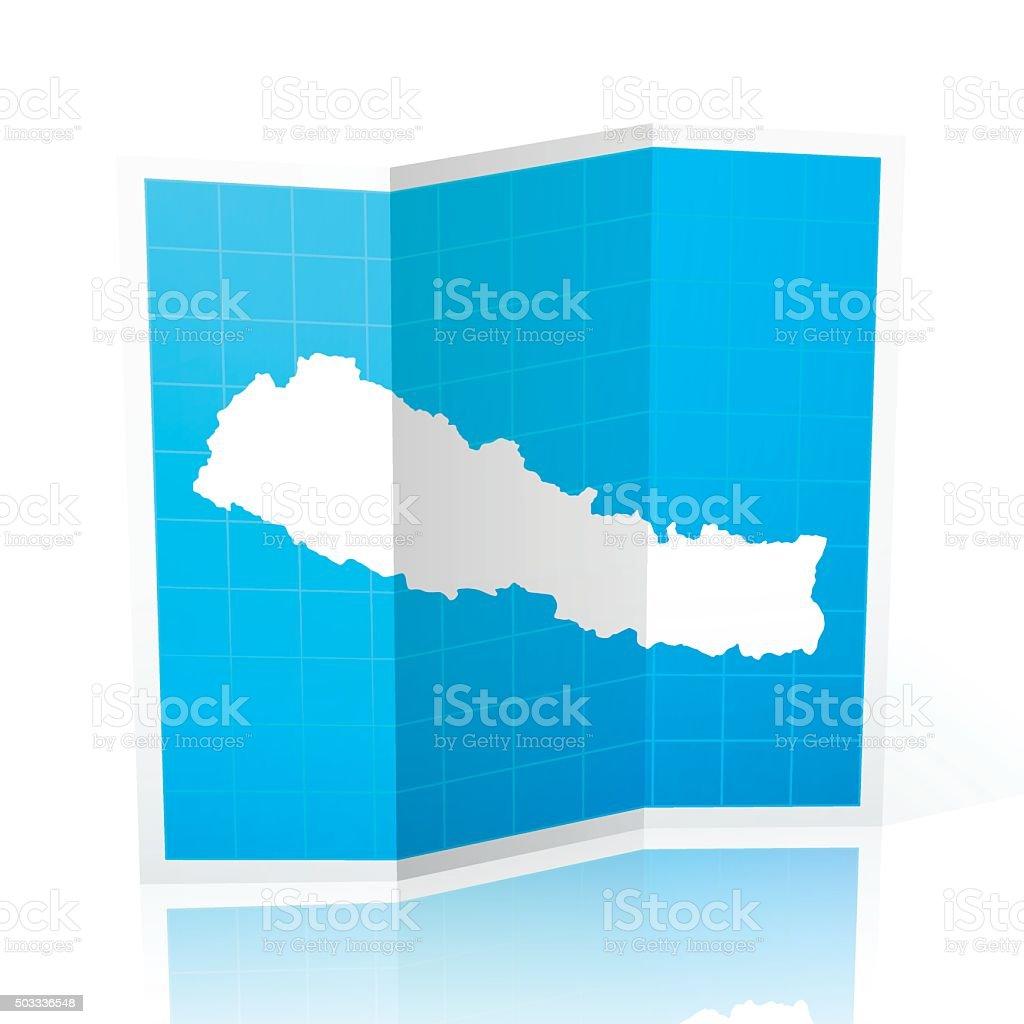Nepal Map folded, isolated on white Background vector art illustration