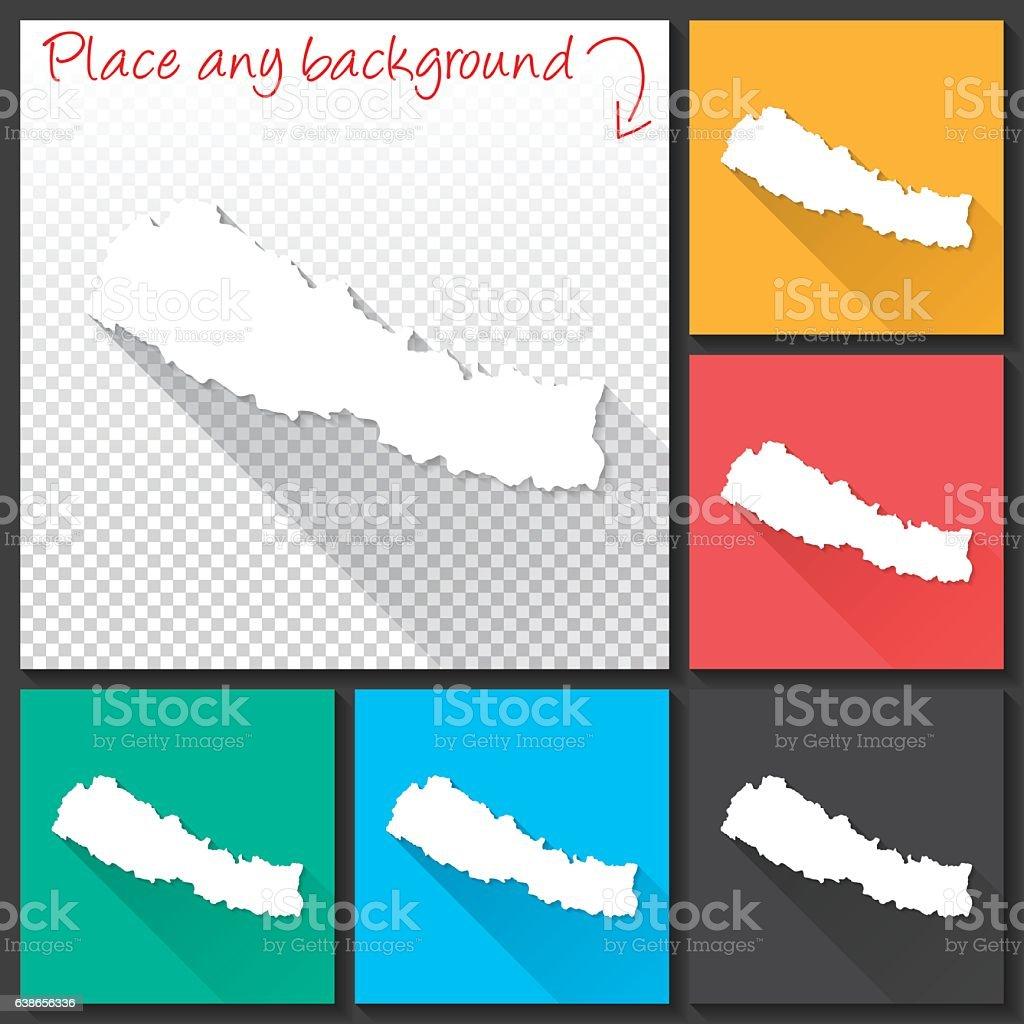 Nepal Map for design, Long Shadow, Flat Design vector art illustration