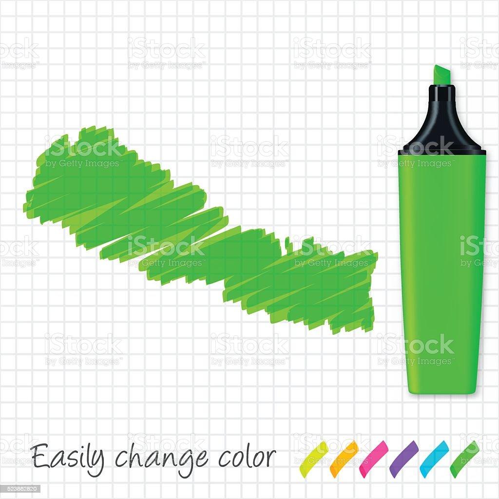 Nepal map hand drawn on grid paper, green highlighter vector art illustration