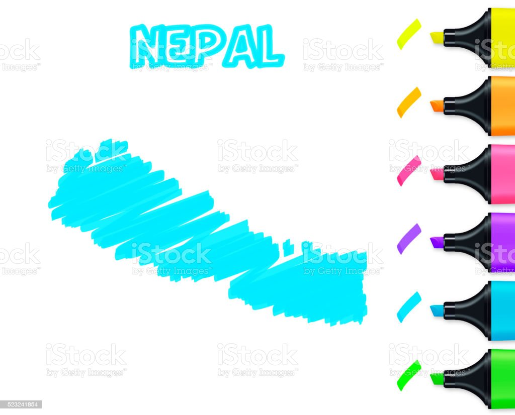 Nepal map hand drawn on white background, blue highlighter vector art illustration