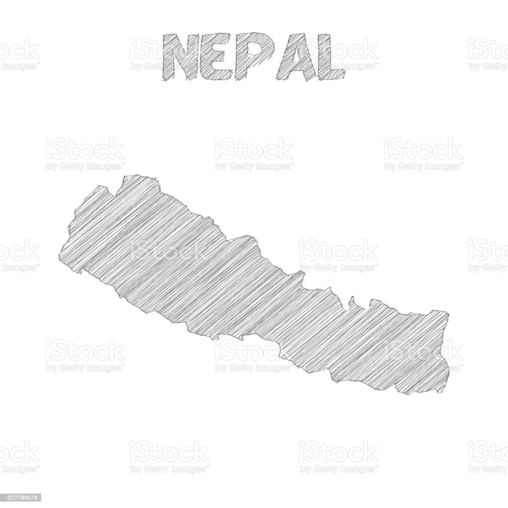 Nepal map hand drawn on white background vector art illustration