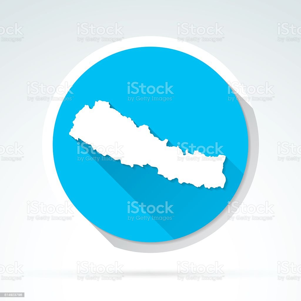 Nepal map icon, Flat Design, Long Shadow vector art illustration
