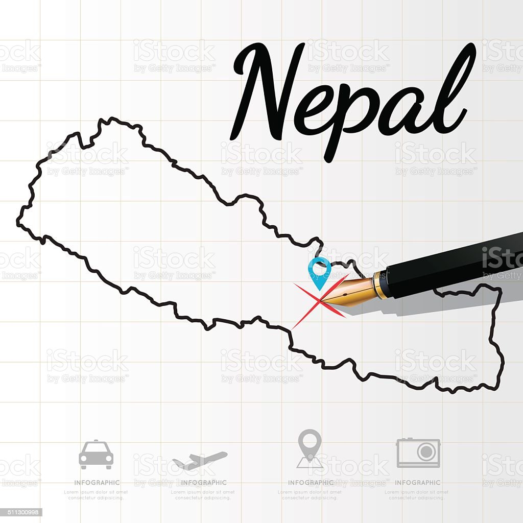 Nepal map Infographic vector art illustration