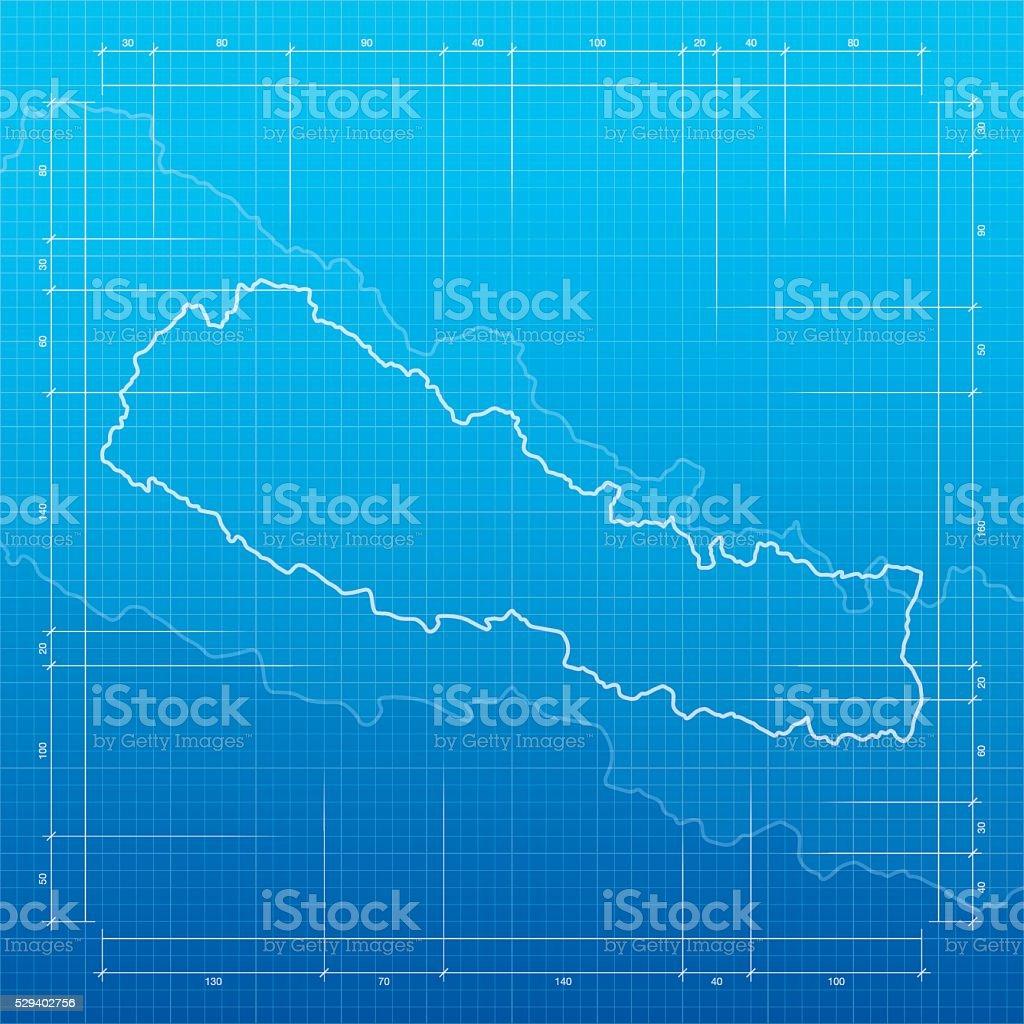 Nepal map on blueprint background vector art illustration