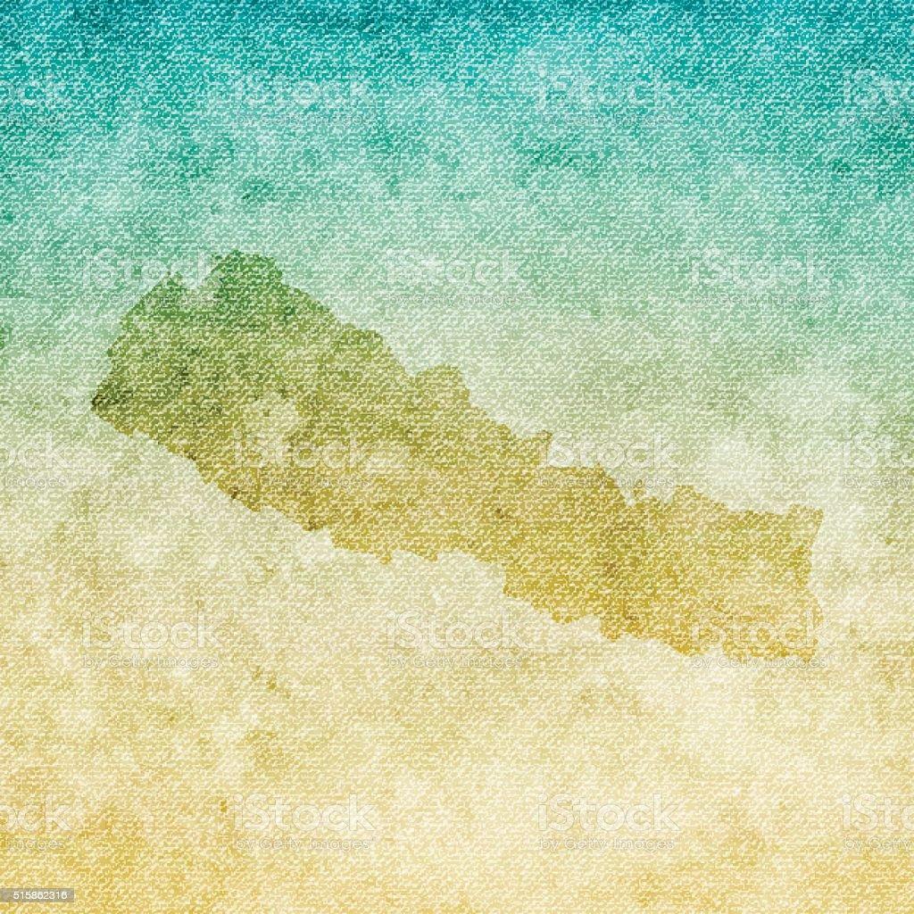 Nepal Map on grunge Canvas Background vector art illustration