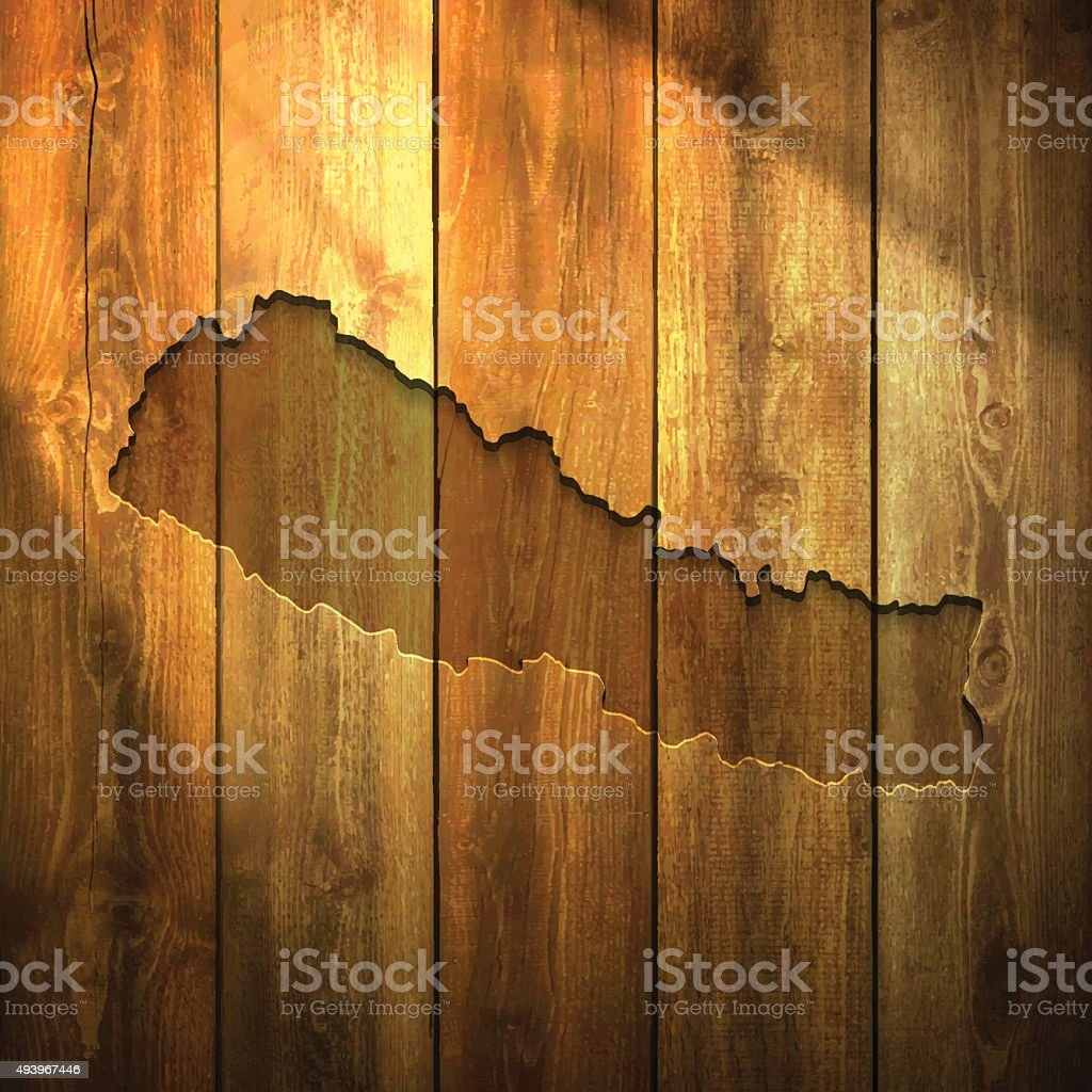 Nepal Map on lit Wooden Background vector art illustration