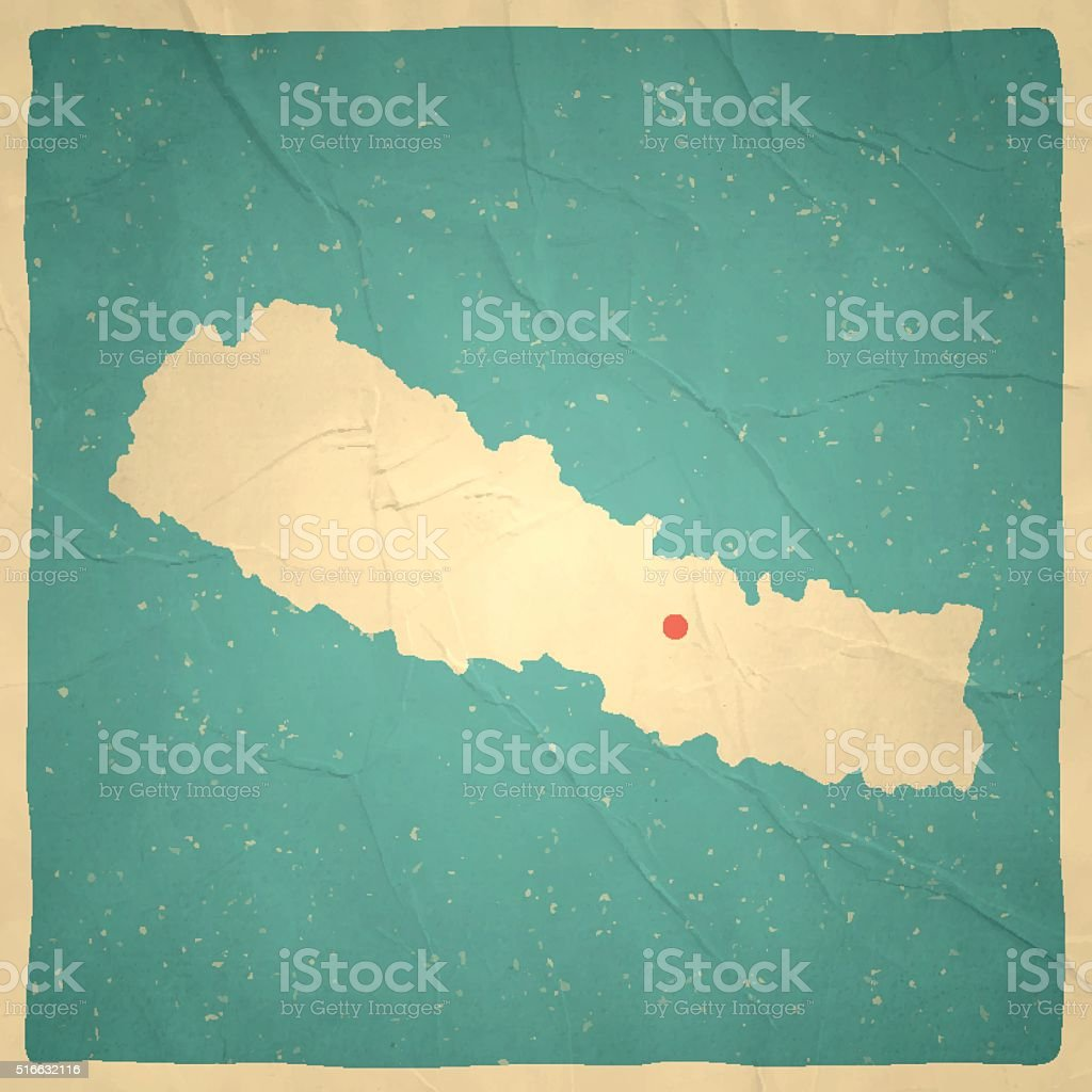Nepal Map on old paper - vintage texture vector art illustration