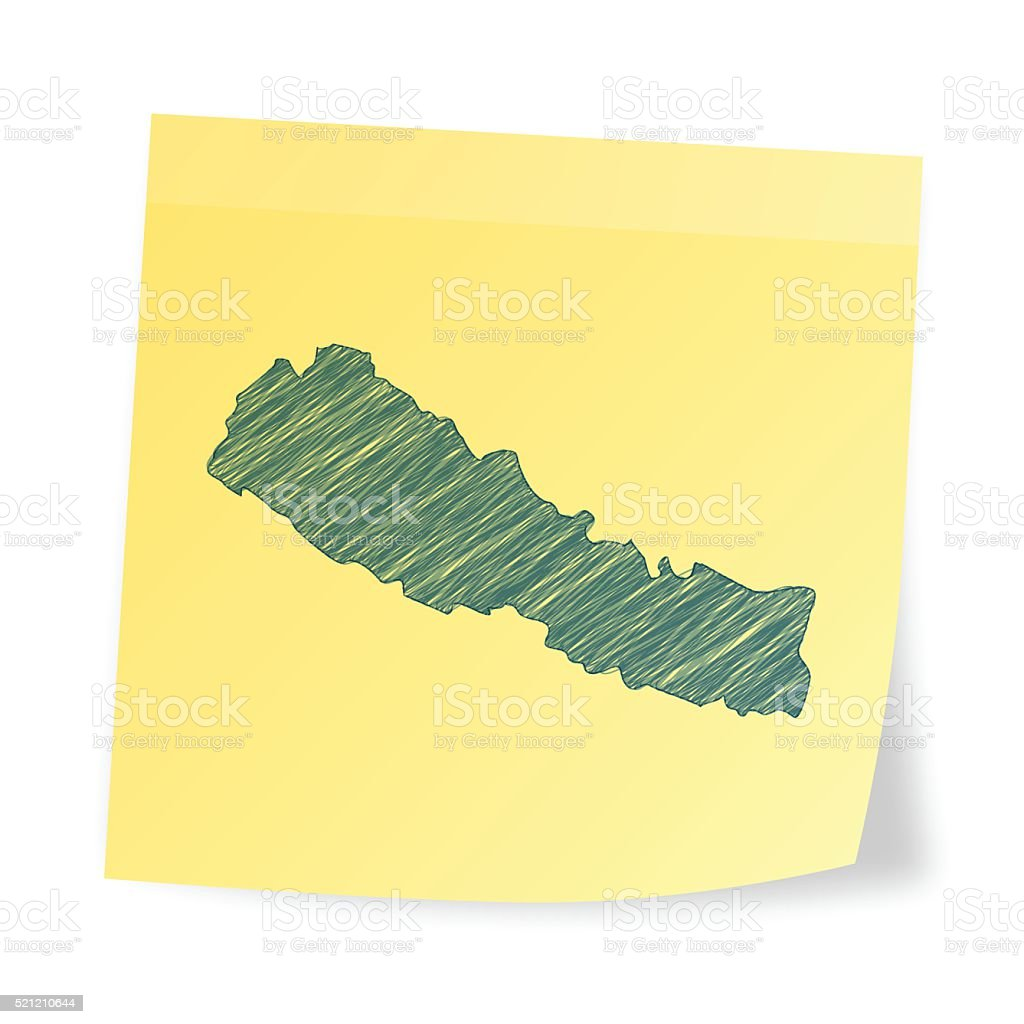 Nepal map on sticky note with scribble effect vector art illustration