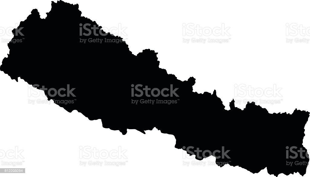Nepal map on white background vector vector art illustration