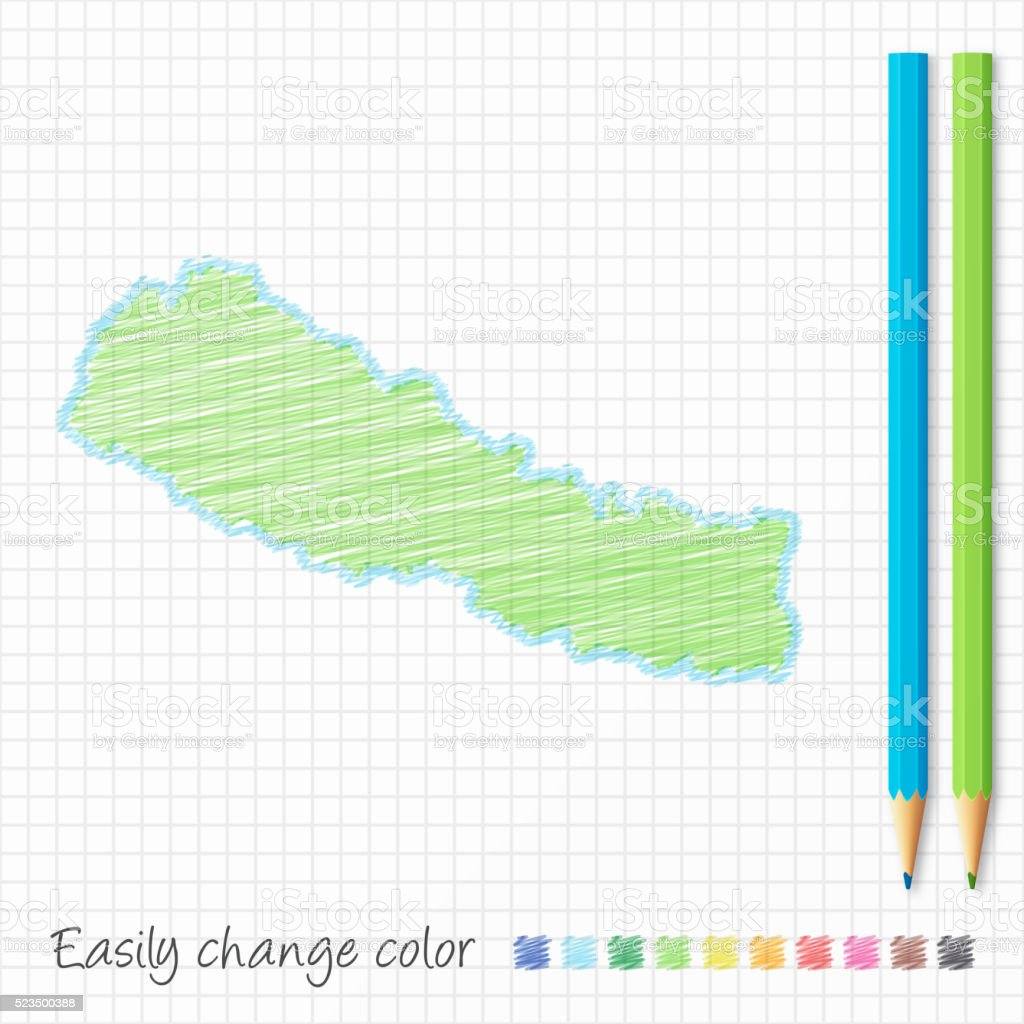 Nepal map sketch with color pencils, on grid paper vector art illustration
