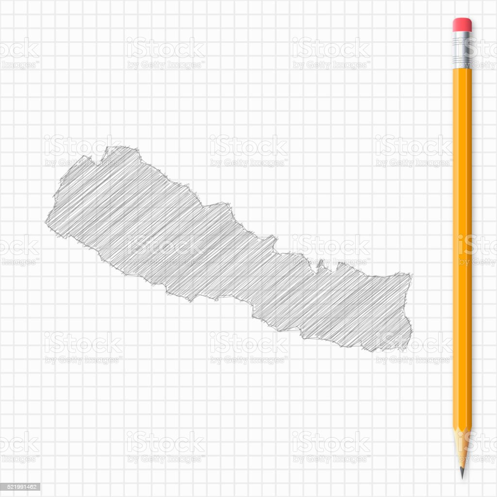 Nepal map sketch with pencil on grid paper vector art illustration