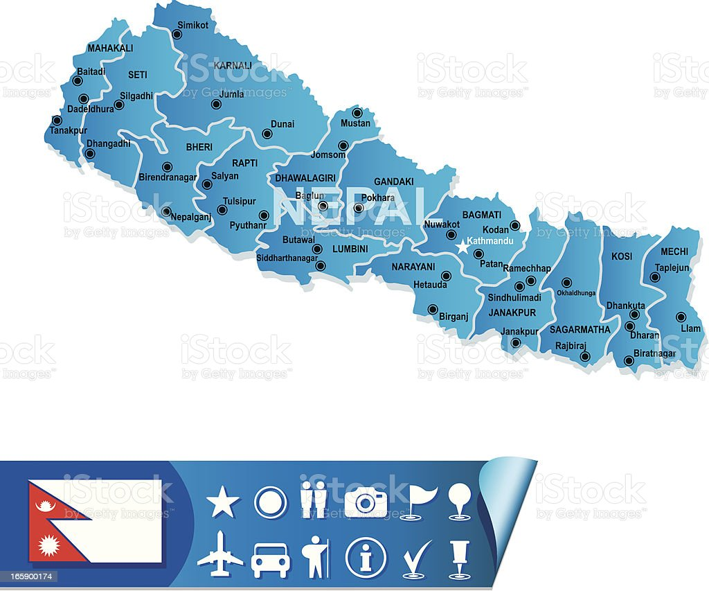 Nepal map royalty-free stock vector art